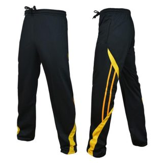 Black And Yellow Polyester Trousers For Men