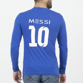 Royal Blue Messi 10 V-Neck Full Sleeves T-Shirt