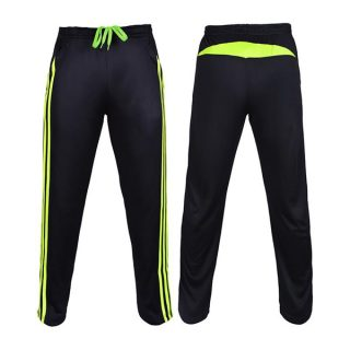 Black And Florescent Polyester Trouser For Men
