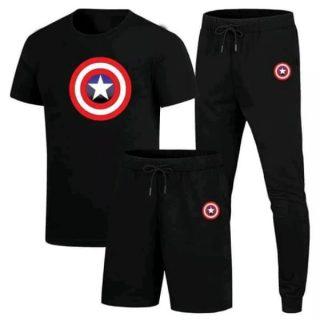 Pack Of 3 Summer Track Suit (T-shirt + Trouser + Short)