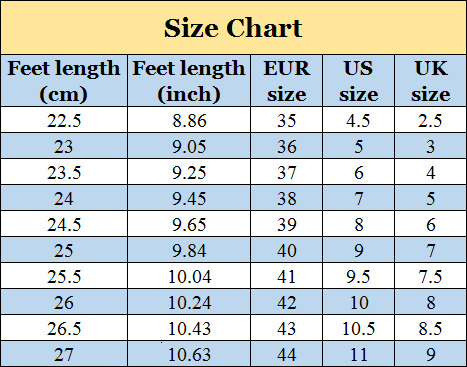 Shoes Size Chart Sports Ghar